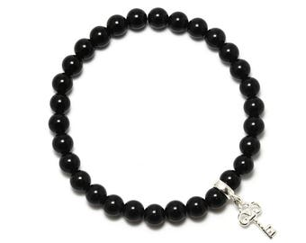 Black Onyx Beaded Bracelet with Sterling Silver Charm, Unique only 1 piece available! , color black, #45881