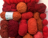 Mixed Yarn Lot Orange + Red Shades for Weaving + Fiber Arts
