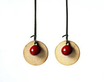 Sequin red gold enamel earrings