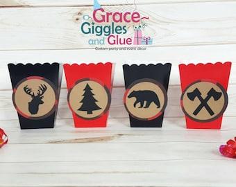 10 Lumberjack Buffalo Plaid Favor/Snack Boxes