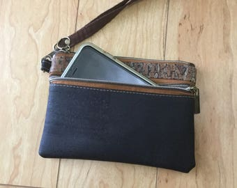 Cork, wristlet, wallet, Black, Fennel, eco friendly