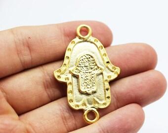24 K Matt Gold Plated Double Hamsa Hand of Fatima  30x45 mm two holes - Hamsa Charm - Fatima Hand - Hamsa Charms - Gold plated hamsa pendant