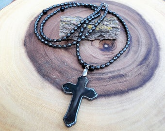 Men's hematite cross necklace,Mens crucifix,Mens beaded cross necklace,Surfers necklace,Religious jewelry,Men's Boho Necklace,Biker Necklace