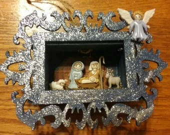 Nativity scene shadow box ornament - hand painted wooden shadow box with laser cut frame and hemp hanger