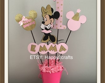 Minnie Mouse personalized birthday centerpieces with your childs name