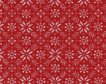 Eight Leaf Rose - Raud - NORDIC STITCHES  by Wenche Wolff Hatling for Moda Fabrics - Red - 39713 13