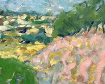 Pink landscape (New Zealand). 2017. Original oil painting on gesso paper. (Landscape painting) free shipping