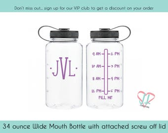 Motivational Water Bottle - 34 oz - Water Bottle - Monogrammed Water Bottle - Waterbottle - Monogram - Water Tracker - BPA Free - Hydrate