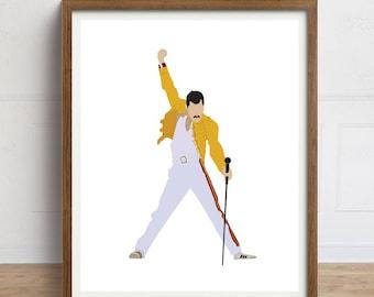 Freddie Mercury Art Print, Queen Print, Freddie Mercury Yellow Jacket, Minimalist Portrait Art, Queen Poster, Wembley Stadium