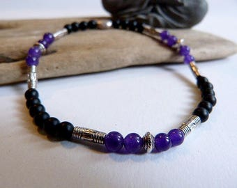 Bracelet for men or mixed in ethnic style amethyst and matte black Onyx.