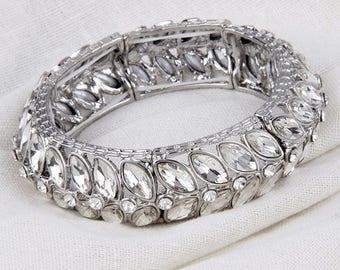 Bridal Bracelet, Crystal Bangle Bracelet, Silver Wedding Bracelet, Bridesmaids Jewelry, Crystal Bracelet, Stretch Bracelet, Bridal Jewelry
