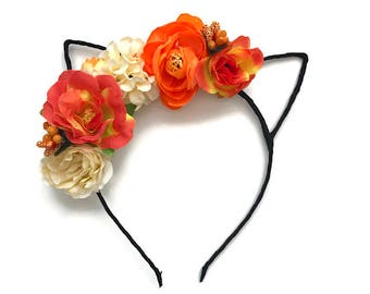 Halloween Cat Inspired Fall Floral Cat Ears