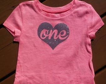 First birthday pink shirt silver sparkly one heart 12 - 18 months