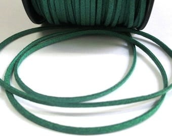 1 m cord suede green glittery 3 mm