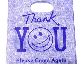 10 sachets plastic handle 20x15cm purple pattern thank you
