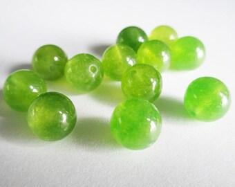 10 green 10mm natural jade beads