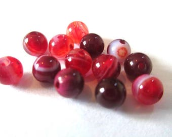 vibrant red 4mm 10 striped agate beads