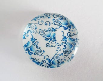 1 blue 25mm (3) flower printed glass cabochons
