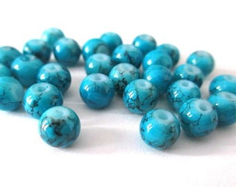 20 blue speckled beads 6mm (B-01)