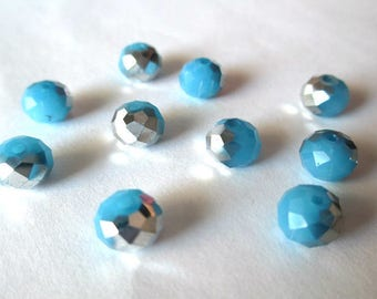 10 rondelle beads faceted blue jade and silver 8x6mm imitation jade glass imitation