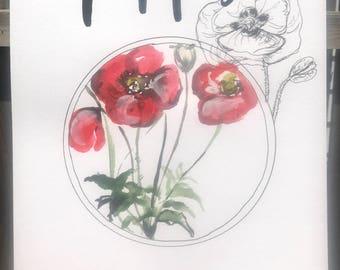 Poppy print 11x14in!