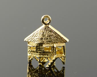 14k Beach Thatched Roof Island Hut Stilts Charm/Pendant Gold