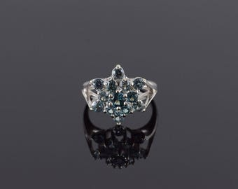 1.80 Ctw Blue Topaz Cluster Flower Snowflake Ring Size 6.75 Gold