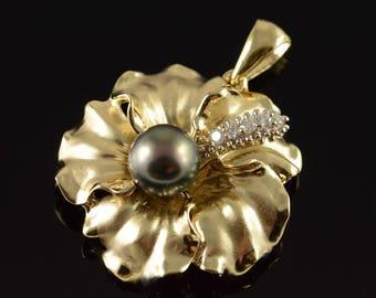 14k 0.15 CTW Diamond 9mm Black Pearl Floral Motif Pendant Gold