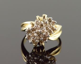 10k 1.00 CTW Cognac Diamond Cluster Ring Gold