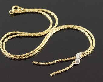 14k 1.2mm Link Genuine Diamond Knot Feature Necklace Gold 16""