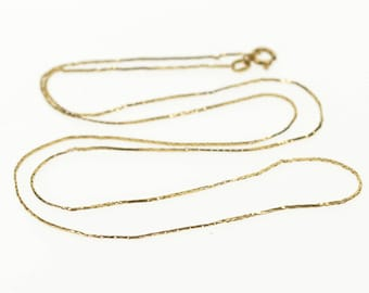 """14k 0.5mm Fancy Pressed Link Chain Necklace Gold 17"""""""