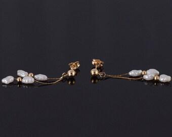 14k Pearl Beaded Chain Fringe Post Back Earrings Gold
