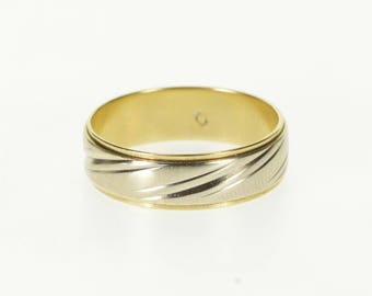10k Two Tone Grooved Patterned Wedding Band Ring Gold