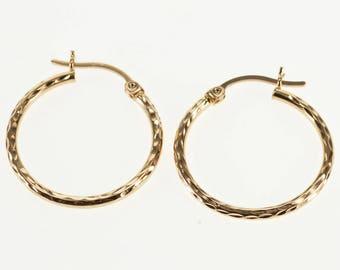 14k Textured Diamond Cut Hollow Tube Hoop Earrings Gold