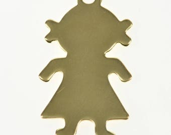 14k Stylized Little Girl Sihlouette Charm/Pendant Gold
