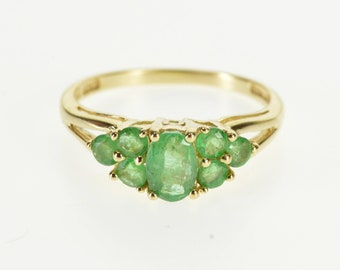14k Oval Emerald Cluster Accent Split Band Ring Gold