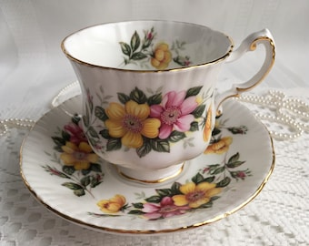 Paragon China Tea Cup and Saucer, Pink and Yellow Floral with Gold Trim