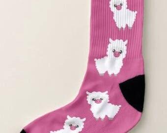 Art Socks,Llama Love Socks, Fun Socks, Men Large, Women,Artsy,Artists,Teachers,Artsy Apparel, Unisex Gift