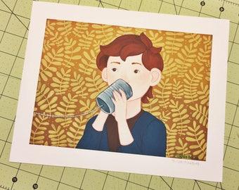 """Tin Can Tidings (Henry) 8"""" X 10"""" Print"""