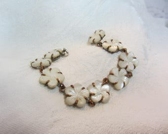 Vintage Mother of Pearl Flower and Brass Link Bracelet with Early Safety Clasp