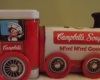 "Campbell's Soup tin wind up train music box ""I've Been Working on the Railroad 1997"