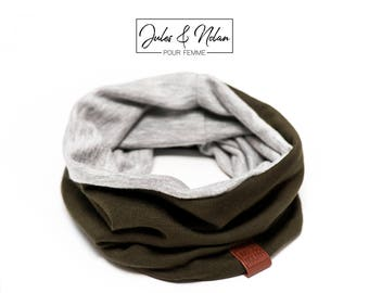 Fall  reversible neck warmer- Kaki/Grey french terry