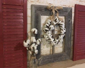 Barnwood Frame, Farmhouse Frame, Cotton Wreath,  Farmhouse Decor,  Fixer upper decor