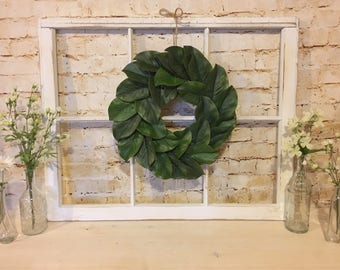 Old Window Frame, Magnolia Wreath, Farmhouse Decor, Fixer Upper Decor, Vintage Window
