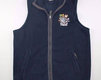 90s Warner Bros Looney Tunes Full Zip Fleece Vest Sweater Mens Medium, Vintage Warner Bros Fleece Vest, Vintage Fleece Vest, Fleece Vest