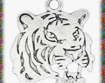 10 pendants antiqued silver carved tiger head