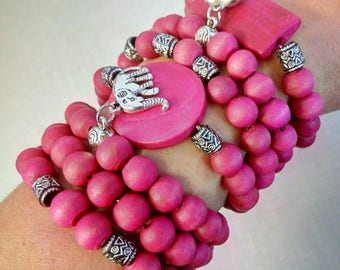 Wood Bead Bracelet Set of 7 Wood Bracelet Beaded Bracelet Wooden Bracelet Wooden Bead Bracelet Wood Beaded Bracelet Boho Bracelet Elephant