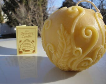 Rustic Fern Ball 100% Pure Beeswax Candle | Rustic Winter Decor | Round Candle | Gifts under 20 | Rustic Decor