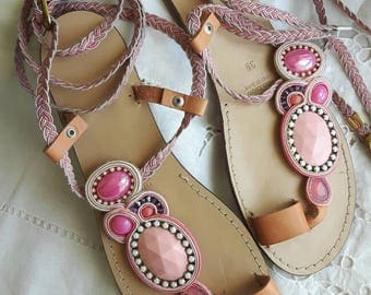 Leather sandals soutache, totally hand maded/Summer embroidered sandals, pink and beige soutache/Jewelry leather shoes