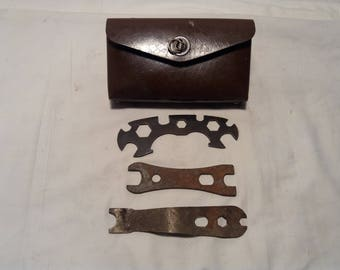Vintage 1960's Dark Brown Case for Bicycle Tools